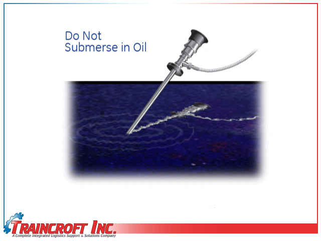 Borescope probe in oil illustration